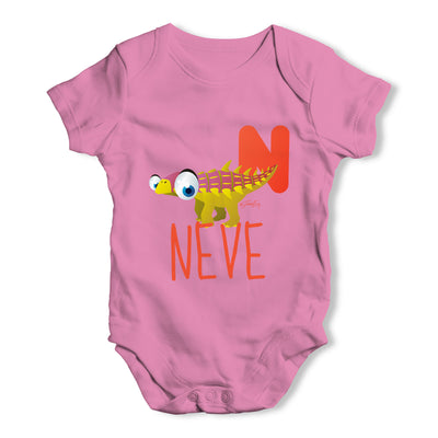 Personalised Dinosaur Letter N Funny One-piece Infant Baby Bodysuits Babygrows Onesie