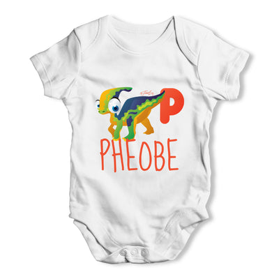 Personalised Dinosaur Letter P Funny One-piece Infant Baby Bodysuits Babygrows Onesie