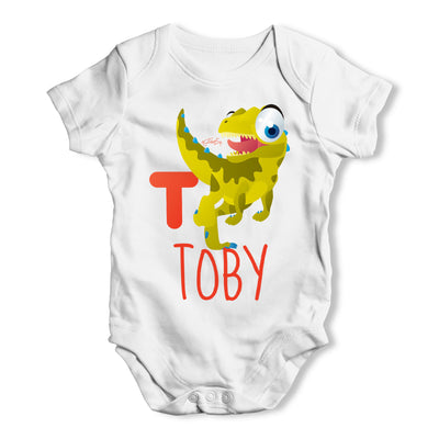 Personalised Dinosaur Letter T Funny One-piece Infant Baby Bodysuits Babygrows Onesie