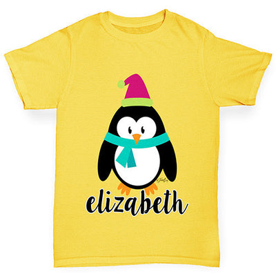 Personalised Cartoon Christmas Penguin Boy's T-Shirt