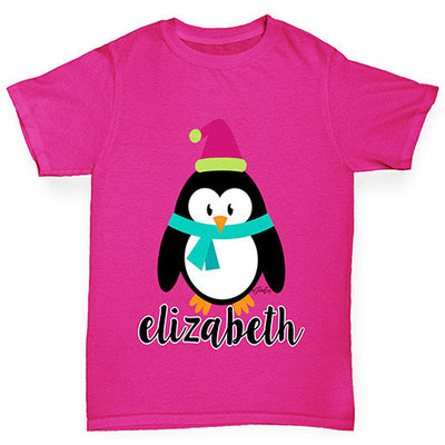 Personalised Cartoon Christmas Penguin Girl's T-Shirt