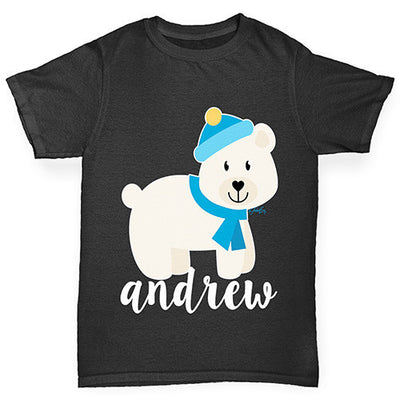 Personalised Cartoon Polar Bear Boy's T-Shirt