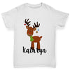 Personalised Cartoon Reindeer Girl's T-Shirt