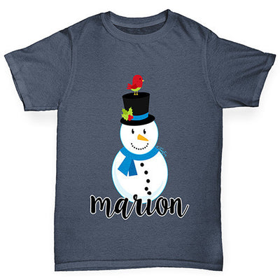Personalised Cartoon Snowman Boy's T-Shirt