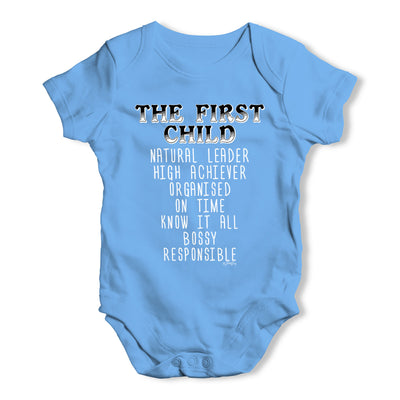 The First Child Attributes Baby Grow Bodysuit