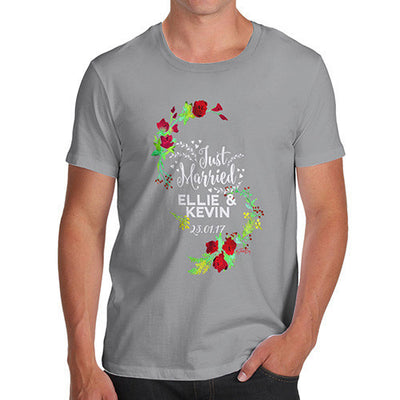 Personalised Just Married Flowers Men's T-Shirt