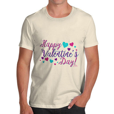 Happy Valentine's Day Pink Hearts Men's T-Shirt