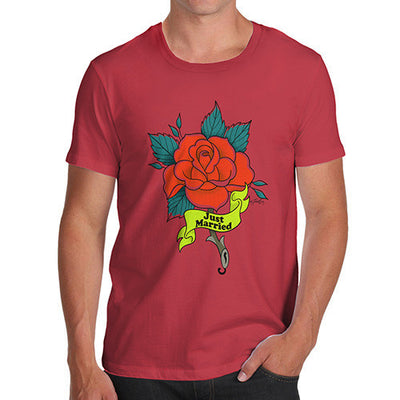 Just Married Rose Tattoo Men's T-Shirt
