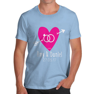 Personalised Couples Name Cupid's Heart Men's T-Shirt