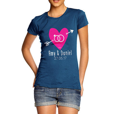 Personalised Couples Name Cupid's Heart Women's T-Shirt