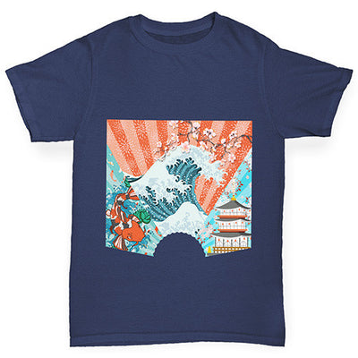 Japanese Fan Koi Wave Temple Girl's T-Shirt