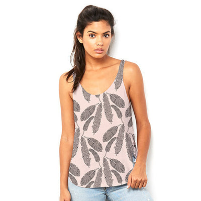 Falling Feathers Women's Flowy Side Slit Tank