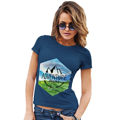 Adventure Begins Mountains Landscape Women's T-Shirt