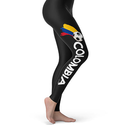 Colombia Football Soccer Flag Paint Splat Women's Leggings