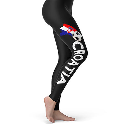 Croatia Football Soccer Flag Paint Splat Women's Leggings