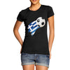 Greece Football Flag Paint Splat Women's T-Shirt