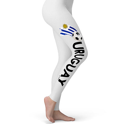 Uruguay Football Soccer Flag Paint Splat Women's Leggings