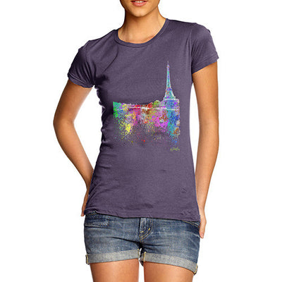 Paris Skyline Ink Splats Women's T-Shirt