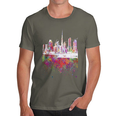 Dubai Skyline Ink Splats Men's T-Shirt