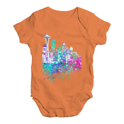 Seattle Skyline Ink Splats Baby Unisex Baby Grow Bodysuit