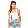 Chicago Skyline Ink Splats Women's Flowy Side Slit Tank