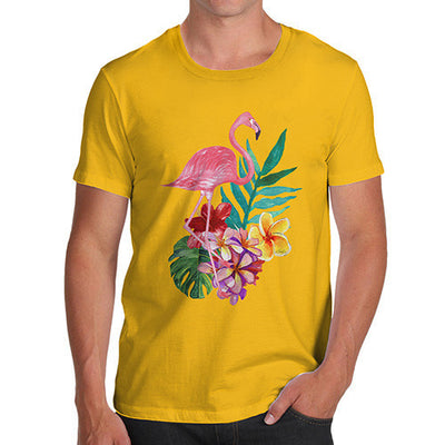 Watercolour Flamingo Flowers  Men's T-Shirt