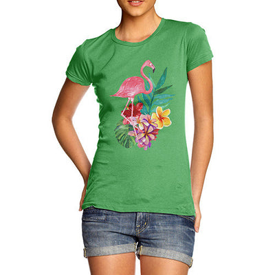 Watercolour Flamingo Flowers  Women's T-Shirt
