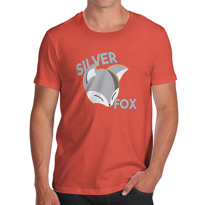 Novelty Tshirts Men Silver Fox Men's T-Shirt Small Orange