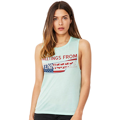 Greetings From Tennessee USA Flag Women's Flowy Scoop Muscle Tank