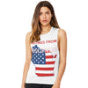 Greetings From Wisconsin USA Flag Women's Flowy Scoop Muscle Tank