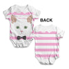 White Cat With Bow Tie Baby Unisex ALL-OVER PRINT Baby Grow Bodysuit