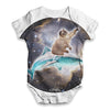 Cat Riding A Shark In Space Baby Unisex ALL-OVER PRINT Baby Grow Bodysuit