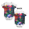 Glitch Art Flowers Baby Unisex ALL-OVER PRINT Baby Grow Bodysuit