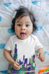 Chicago Skyline Ink Splats Baby Unisex ALL-OVER PRINT Baby Grow Bodysuit