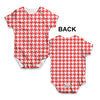 Red Houndstooth Repeat Pattern Baby Unisex ALL-OVER PRINT Baby Grow Bodysuit