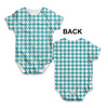 Teal Houndstooth Repeat Pattern Baby Unisex ALL-OVER PRINT Baby Grow Bodysuit