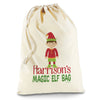 Personalised Magic Elf Natural Christmas Santa Sack Gift Bag