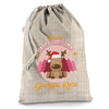 Personalised Christmas Reindeer Hessian Christmas Present Santa Sack Mail Post Bag