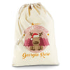 Personalised Christmas Reindeer Natural Luxury Christmas Santa Sack