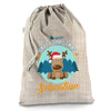 Personalised Merry Christmas Xmas Reindeer Hessian Christmas Present Santa Sack Mail Post Bag