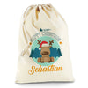 Personalised Merry Christmas Xmas Reindeer Natural Luxury Christmas Santa Sack