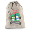 Personalised Snowman Merry Christmas Hessian Christmas Santa Sack Gift Bag