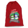 Personalised Snowman Merry Christmas Red Christmas Present Santa Sack Mail Post Bag