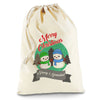 Personalised Snowman Merry Christmas Natural Christmas Santa Sack Mail Post Bag