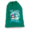 Personalised My First Snowman Christmas Green Christmas Santa Sack Gift Bag