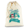 Personalised My First Snowman Christmas Natural Christmas Present Santa Sack Mail Post Bag