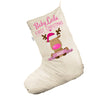 Personalised Baby's First Christmas Pink White Christmas Stocking