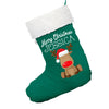 Personalised Nose Reindeer Green Christmas Stocking With White Fur Trim