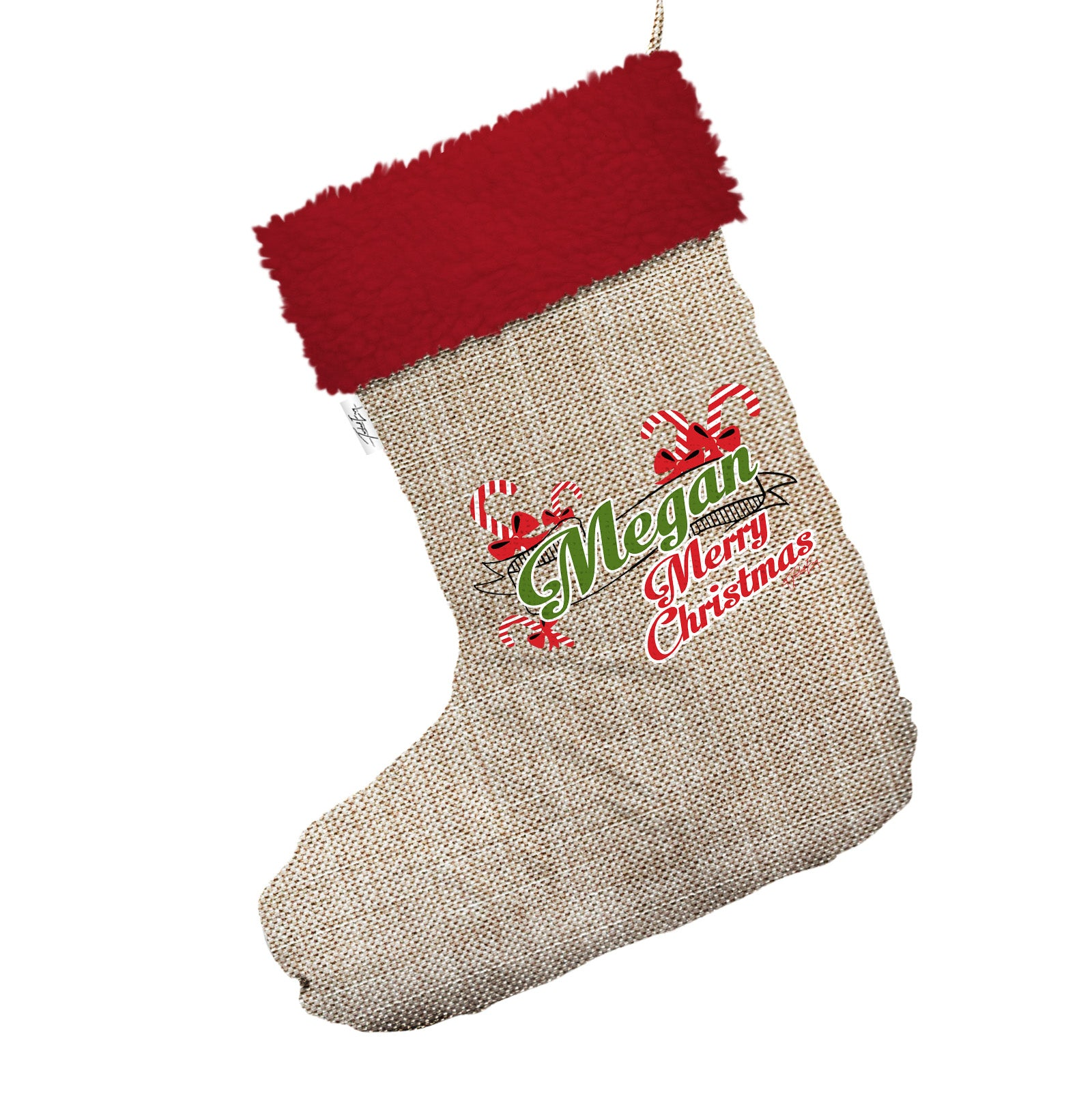 Personalised Candy Canes Jumbo Hessian Christmas Stocking With Red ...