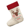 Personalised Christmas Rudolph Express Entrega Especial White Christmas Stocking With Red Fur Trim